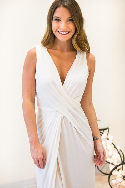 Cloud Twist V-neck White Formal Dress-Dresses-Lotus Boutique-Lotus Boutique