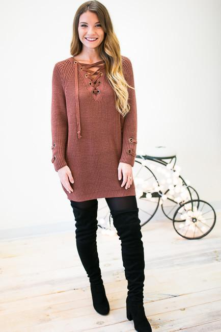 Crushing On This Lace Up Tunic Sweater - Red Bean