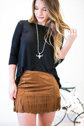 Wide Open Spaces Camel Fringe Skirt