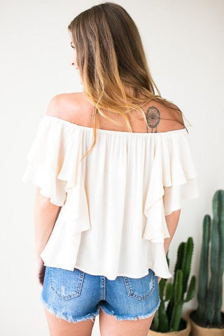 On My Side Flutter Sleeve Top