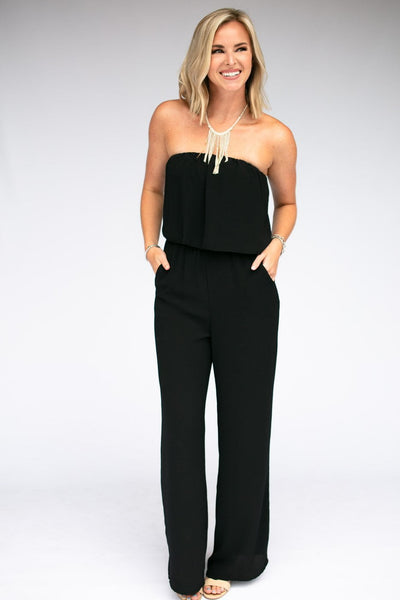 Jumpsuits Haute Hues Black Strapless Jumpsuit - Lotus Boutique