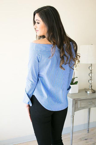 Beautifully Made Button Down Off the Shoulder Top