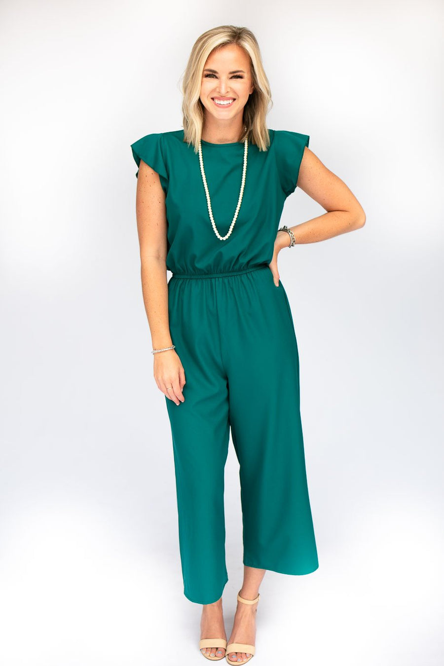 Teal Ruffle Sleeve Jumpsuit
