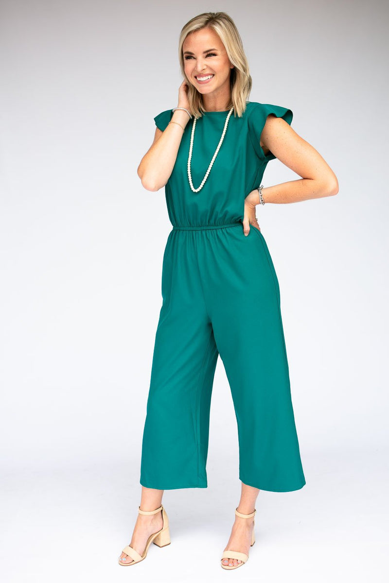 Cropped Ruffle Sleeve Jumpsuit