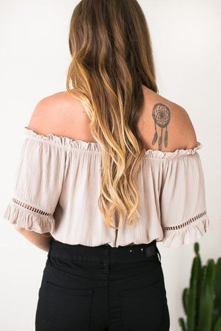 Into the Festival Off Shoulder Crop Top