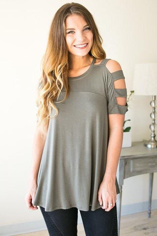 Do You Think of Me Olive Cut Out Top
