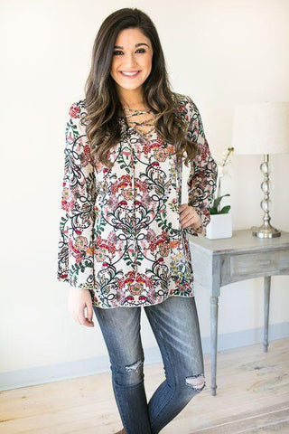 What A Girl Wants Floral Lace Up Tunic - Taupe