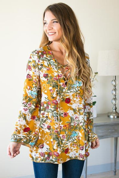 Tops What A Girl Wants Floral Lace Up Tunic - Mustard - Lotus Boutique