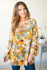What A Girl Wants Floral Lace Up Tunic - Mustard