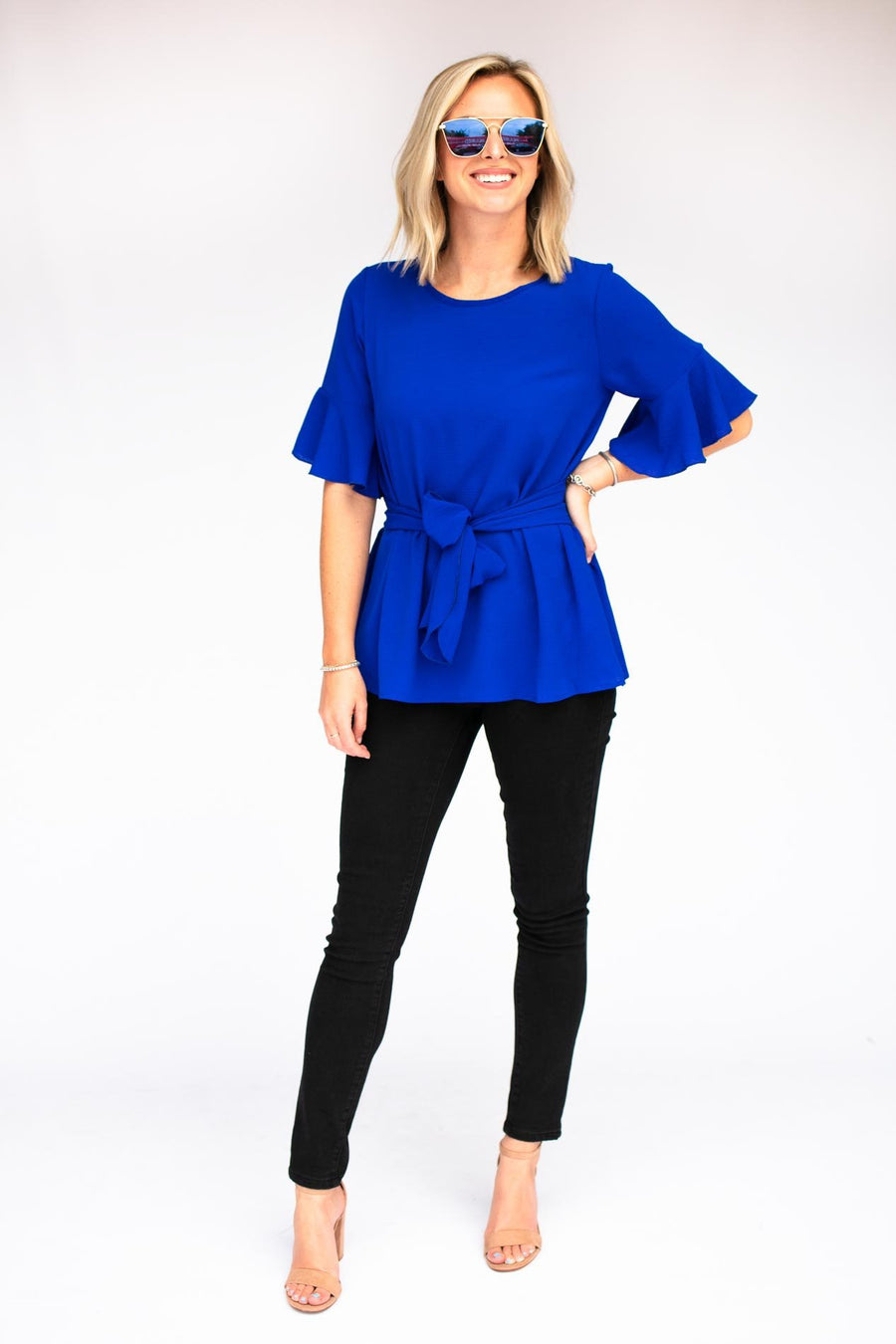 Tops Want and Need Tie Waist Top - Royal  - Lotus Boutique