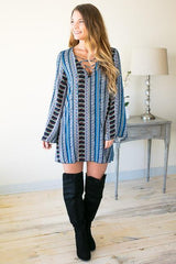 Printed to Perfection Lace Up Dress