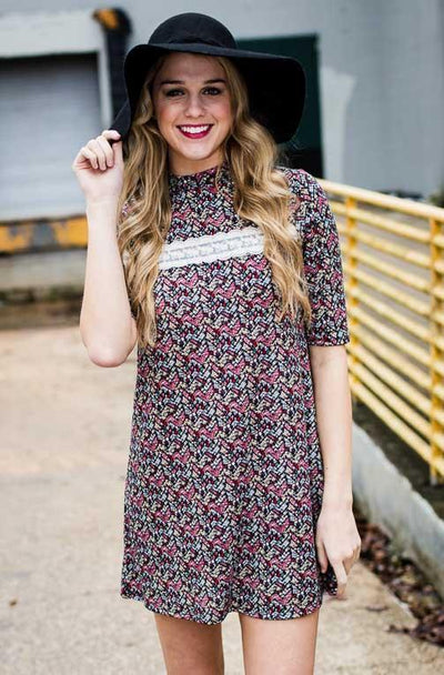 Dresses Floral Time's Sake Floral Sweater Dress - Lotus Boutique