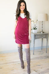 Eyes On You Velvet Tank Dress - Magenta