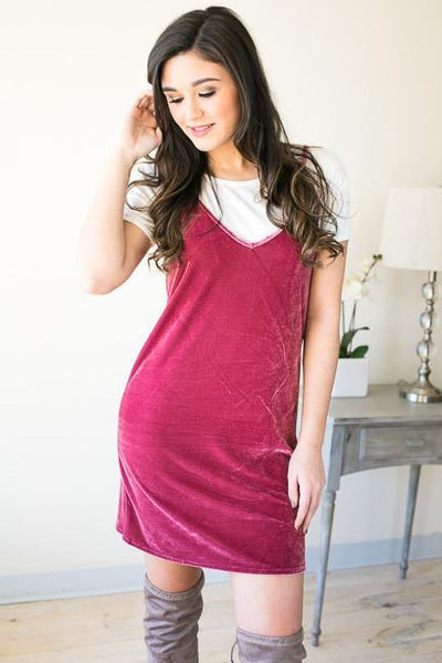 Dresses Eyes On You Velvet Tank Dress - Magenta - Lotus Boutique