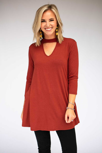 Choker Neck Tunic With Pockets