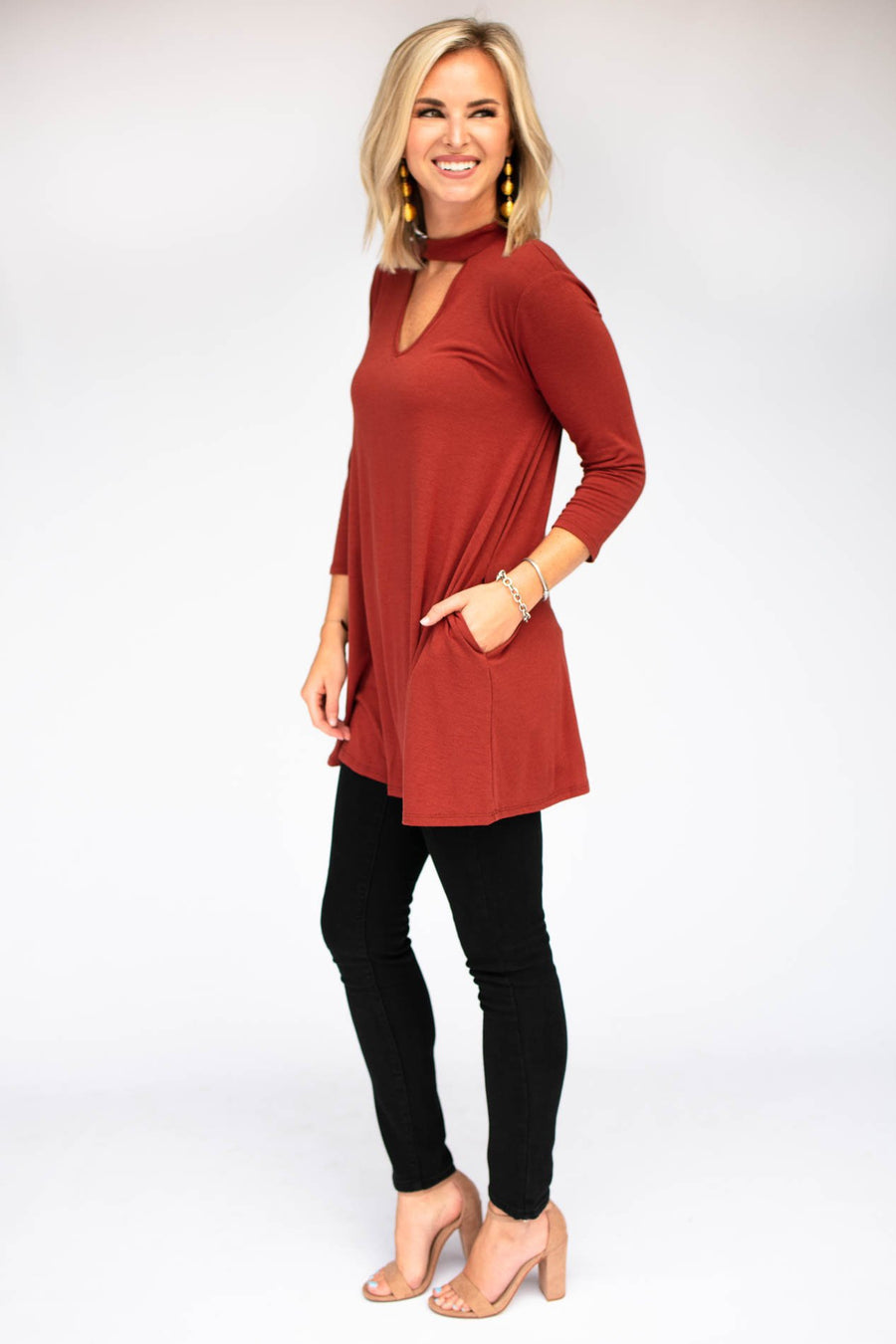 Dark Rust Choker Neck Tunic