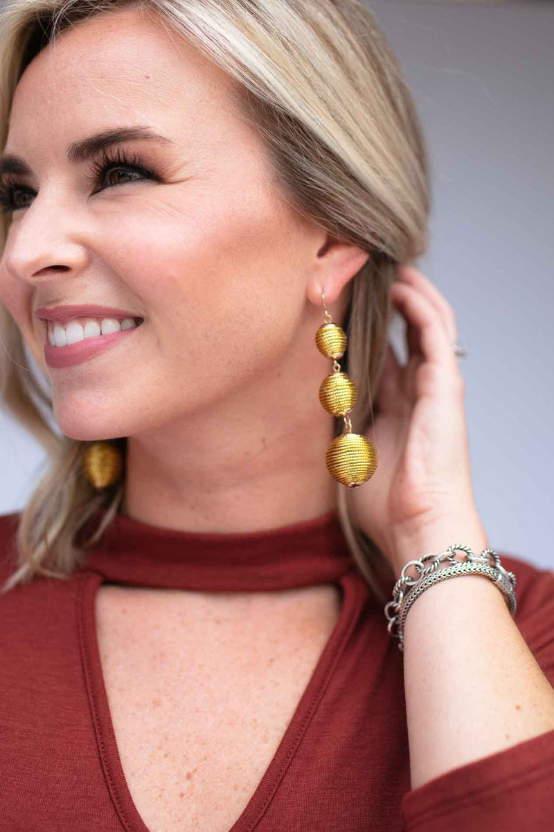 Perfect Trio Gold Drop Earrings