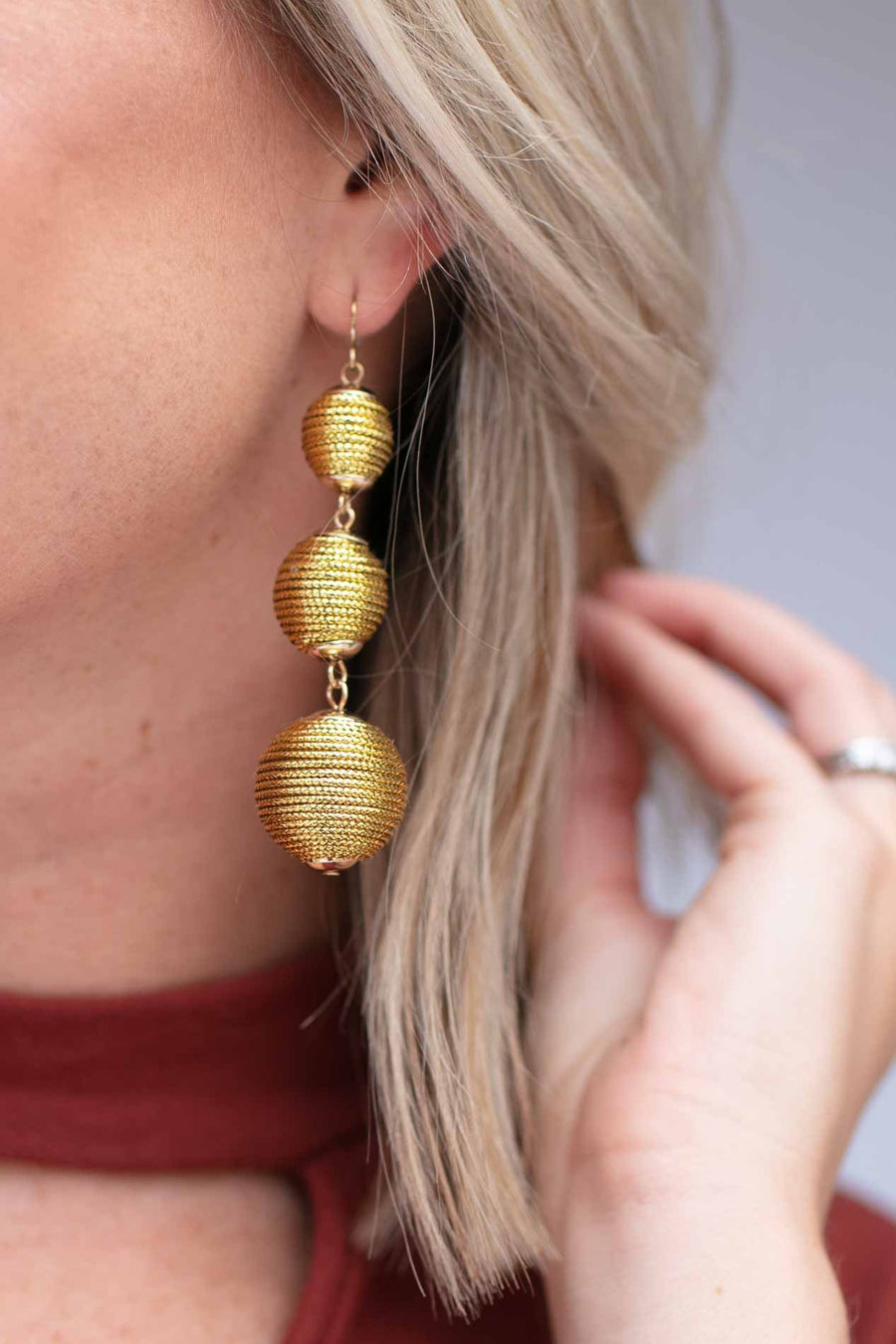 Accessories Perfect Trio Gold Drop Earrings - Lotus Boutique