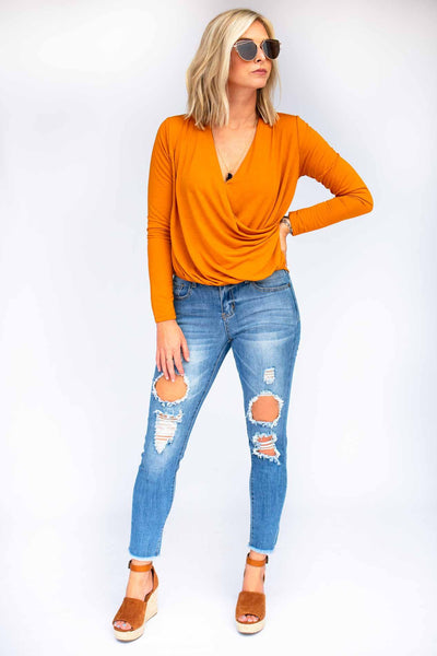 Tops No Matter What Burnt Orange Surplice Top - Lotus Boutique