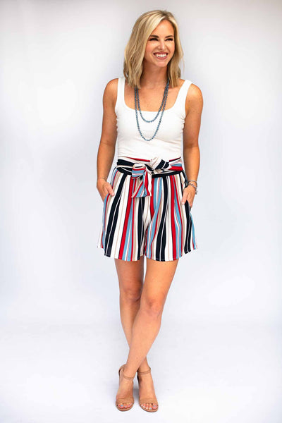 Something Real Stripe High Waist Shorts - Red