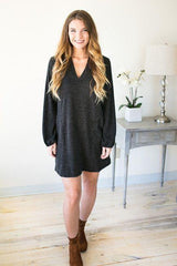 Take Me Back V-neck Sweater Dress