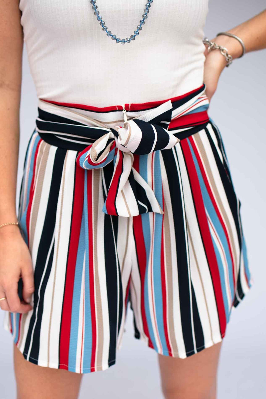 Red Stripe High Waist Shorts