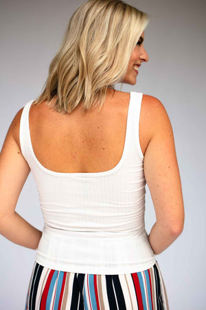 Ribbed Wide Neck Fitted Tank - White