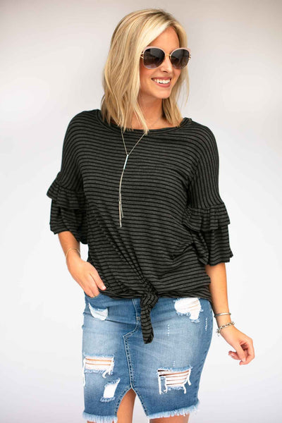 Stripe Ruffle Sleeve Knot Front Top