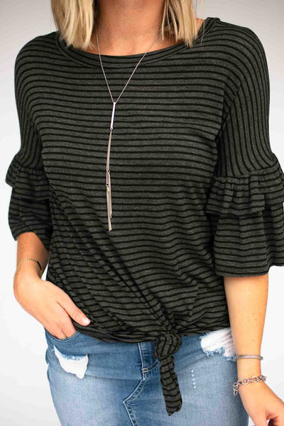 Stripe Knot Front Ruffle Sleeve Top