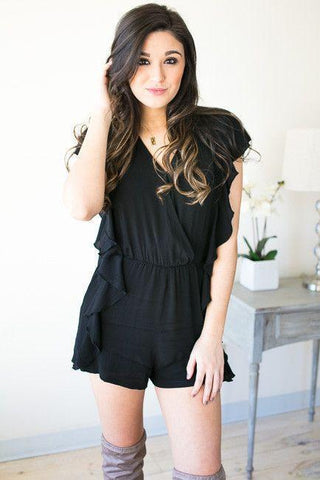 Play Time Ruffle Romper with Pockets - Black