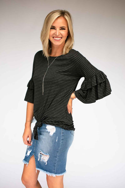 Grey Stripe Knot Front Top