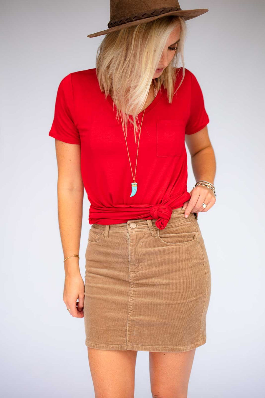 Tan Corduroy Skirt