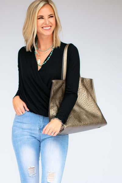 Tops No Matter What Black Surplice Top - Lotus Boutique