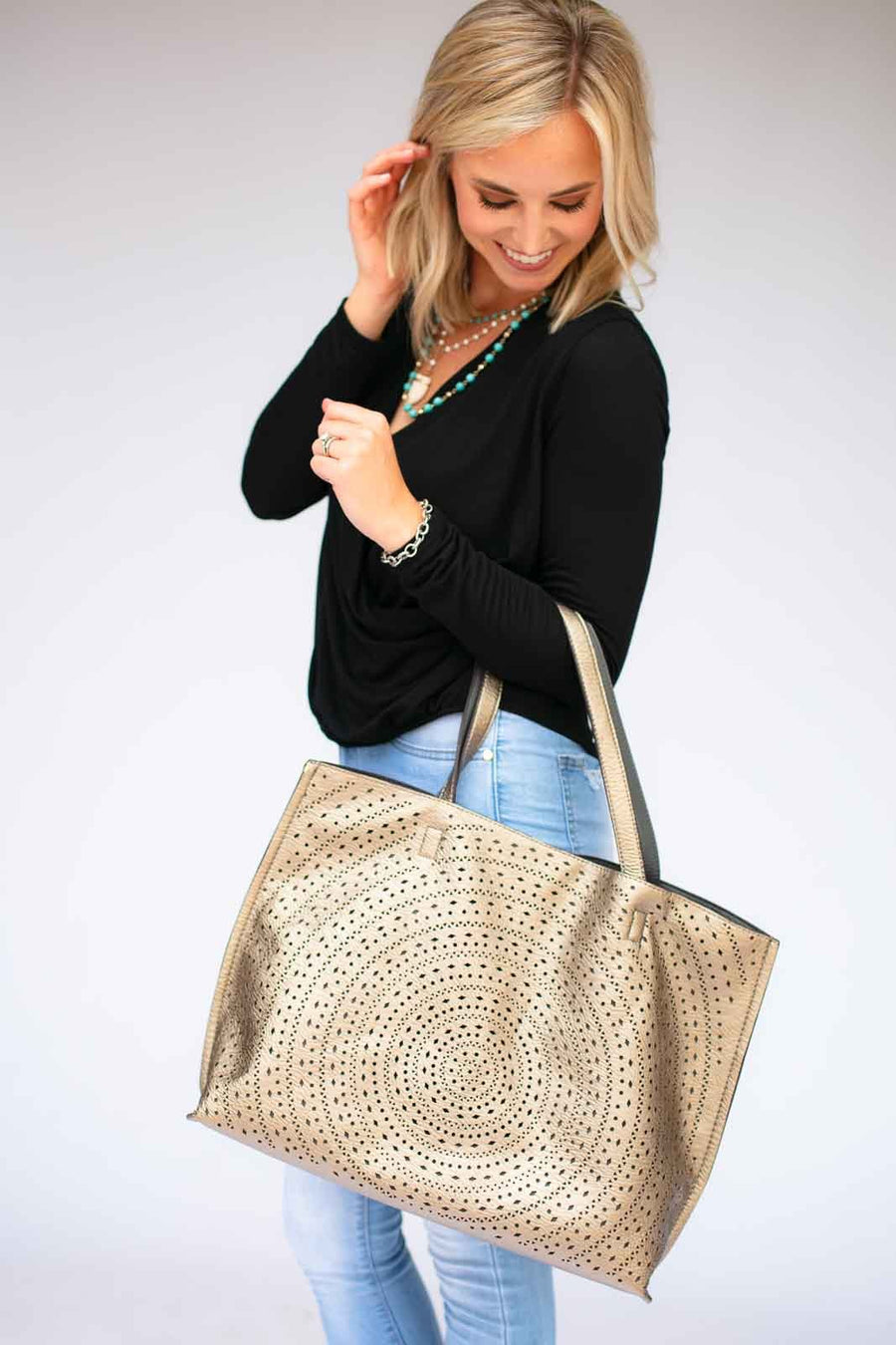 Bronze Cut Out Tote