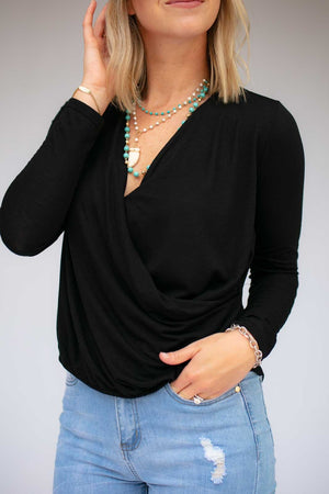 Black Long Sleeve Surplice Top