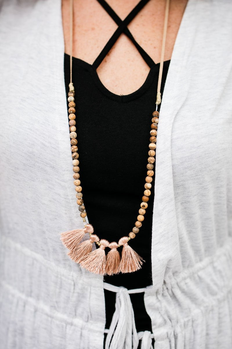 Accessories Share My Mood Tassel Long Beaded Necklace - Lotus Boutique