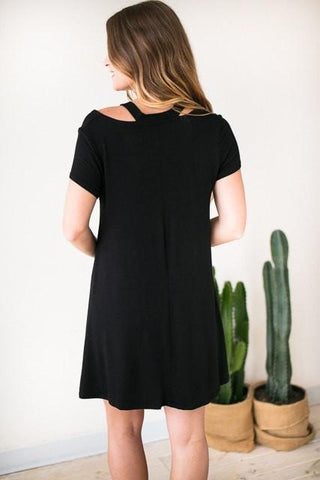 A Day Outside Cut Out Swing Dress - Black