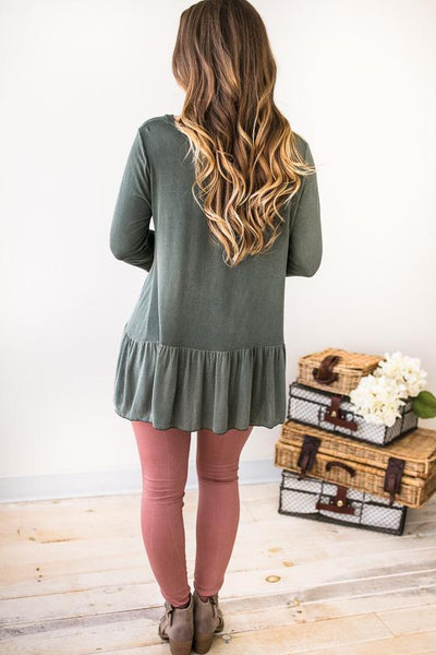 In Case Two Tone Ruffle Hem Top - Olive-Tops-Lotus Boutique-Lotus Boutique