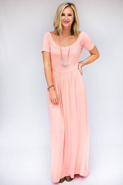 Dresses Keep In Touch Peach Wide Neck Maxi Dress - Lotus Boutique