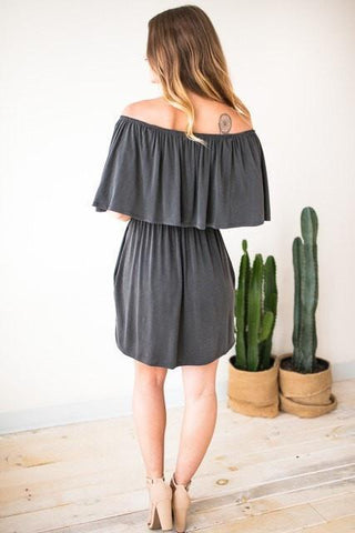 All Mine Charcoal Off Shoulder Dress