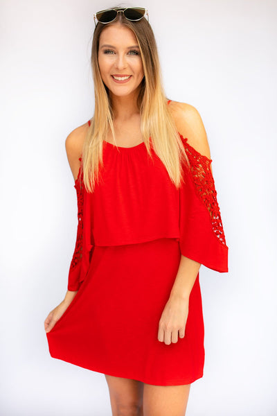 Dresses Cool for the Season Red Lace Detail Dress - Lotus Boutique