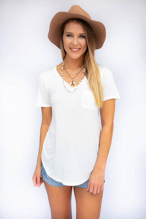 Basic White V Neck