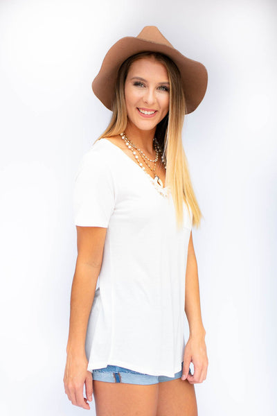Top Don't Call Me Baby Ivory V-neck Tee - Lotus Boutique