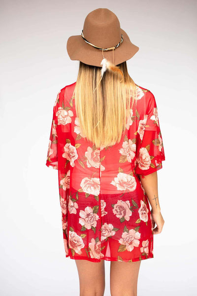Light Weight Red Floral Kimono