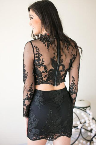 Love Sick Black Floral Lace Set