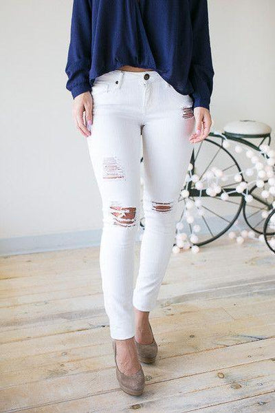 Not All Who Wander- White Distressed Skinny Jeans-Bottoms-Lotus Boutique-Lotus Boutique