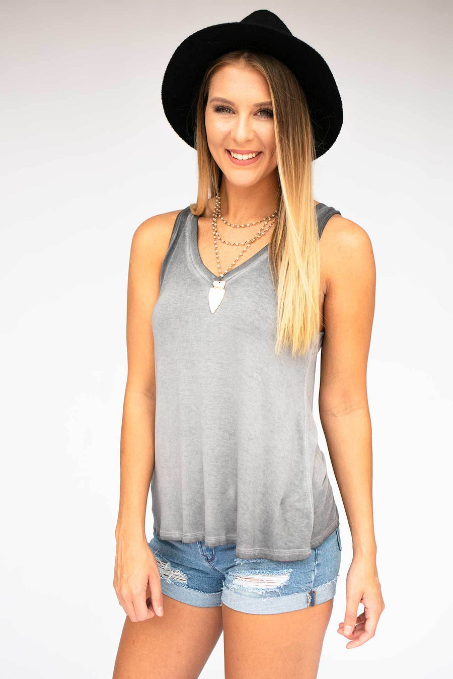 Tops Dakota Mineral Wash Racer Back Tank - Lotus Boutique