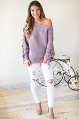 Cash Me Looking Cute Lavender Off Shoulder Sweater