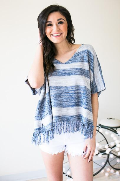 On the Shore Line V-neck Short Sleeve Sweater
