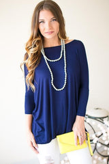 Between the Lines Navy Dolman Sleeve Top